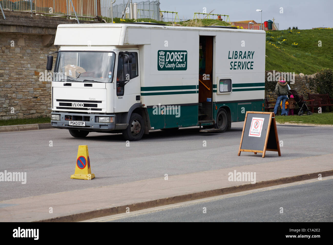 Dorset County Council mobile library service in Swanage, March 2011 Stock Photo