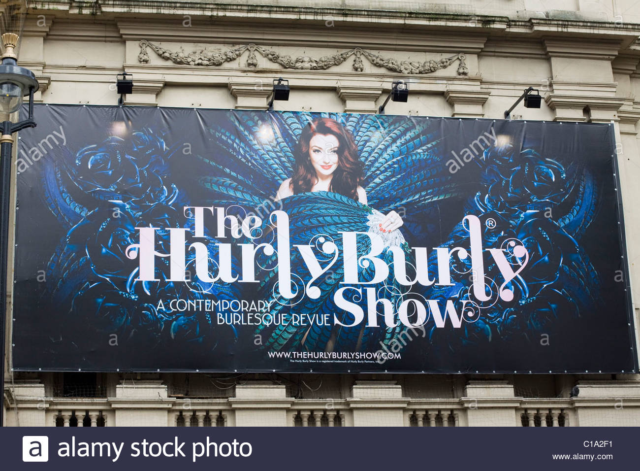 Theater Billboard Advertising the Hurly Burly Show - Stock Image