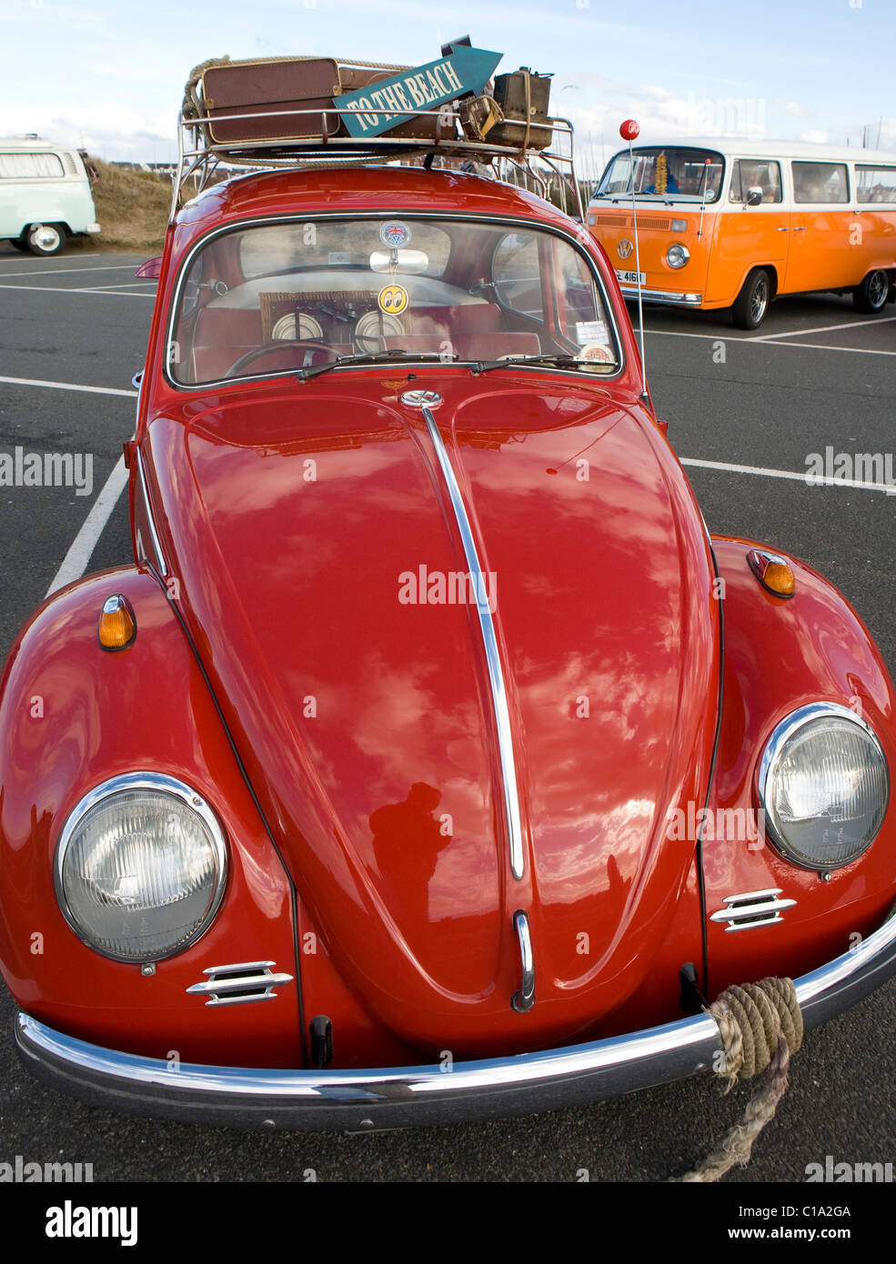 Volkswagen Close-up _ 1960's Vintage VW Beetle Vehicles _ Old Volkswagen Motor cars and Camper vans _ - Stock Image