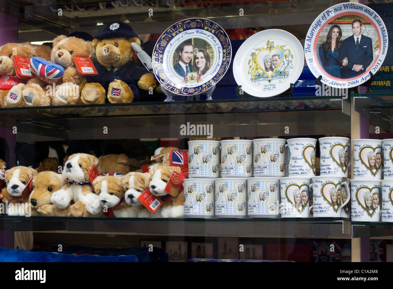 A souvenir Shop selling Memorabilia of Prince William and Kate Middleton's Wedding on the 29th April 2011 The - Stock Image