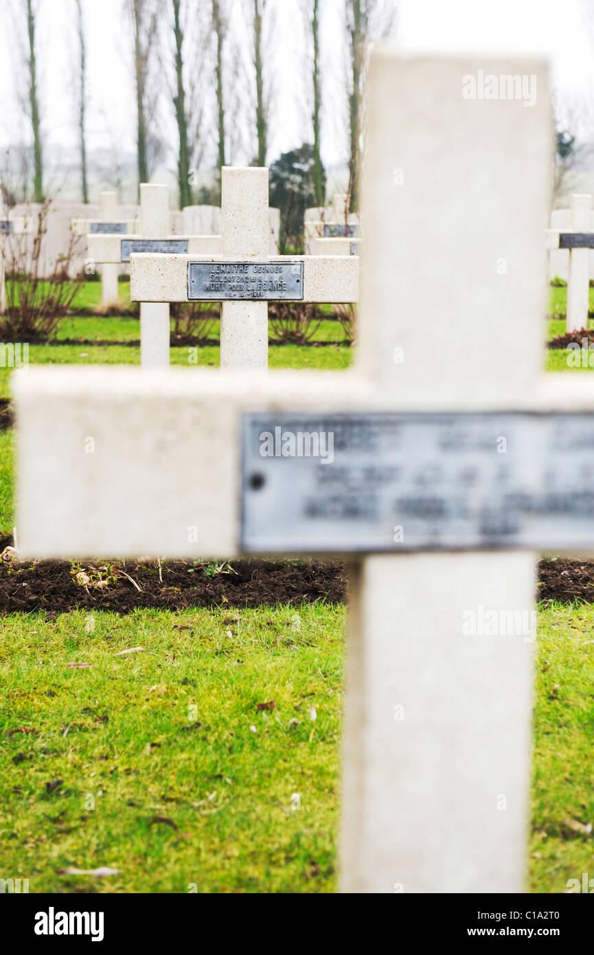 grave stones at Tyne Cot Cemetery, Belgium - Stock Image