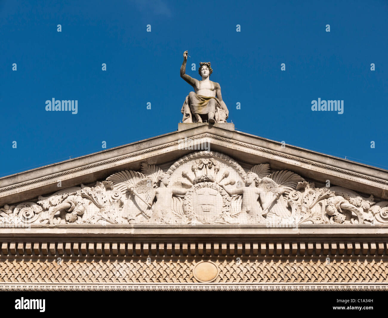 Pediment Ashmolean Museum Oxford - Stock Image