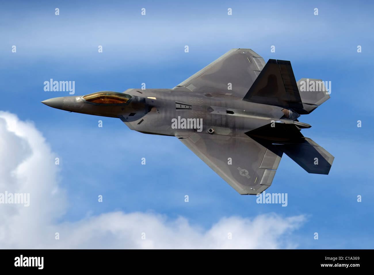 Lockheed Martin F22A RAPTOR aeroplane of the USAF Air Combat Command Wing, Raptor Demonstration Team - Stock Image