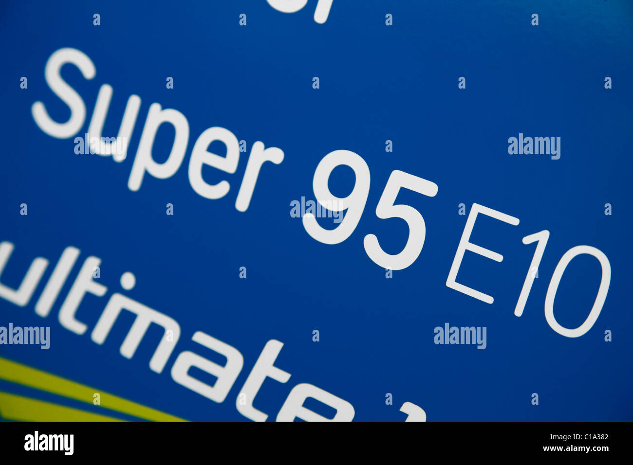 Super E10 a petrol (95 octan) with 10 % bioethanol; Super E10 was launched in March 2011 in Germany Stock Photo