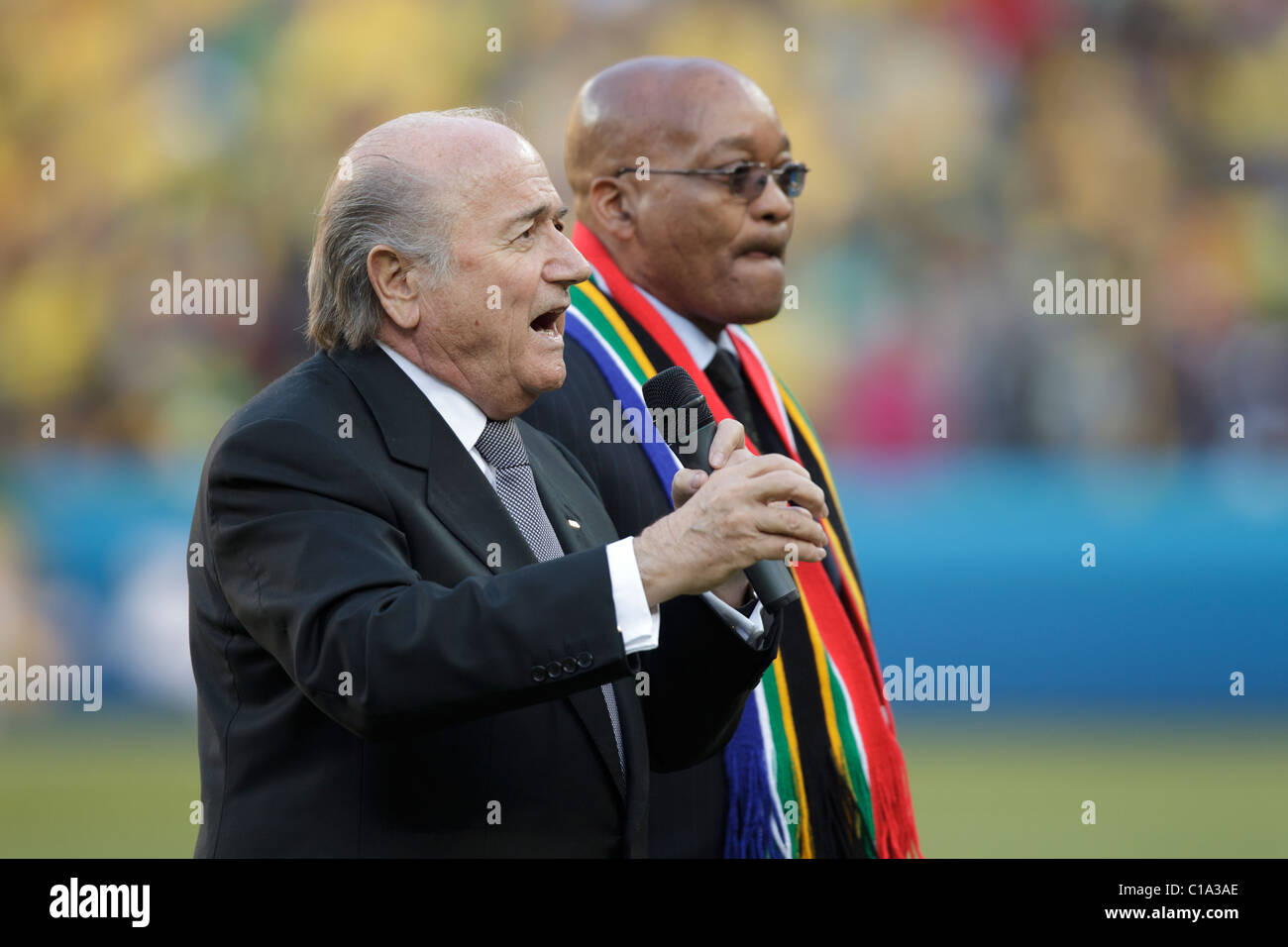 FIFA President Sepp Blatter (l) and South African President Jacob Zuma (r) deliver remarks at the opening of the - Stock Image