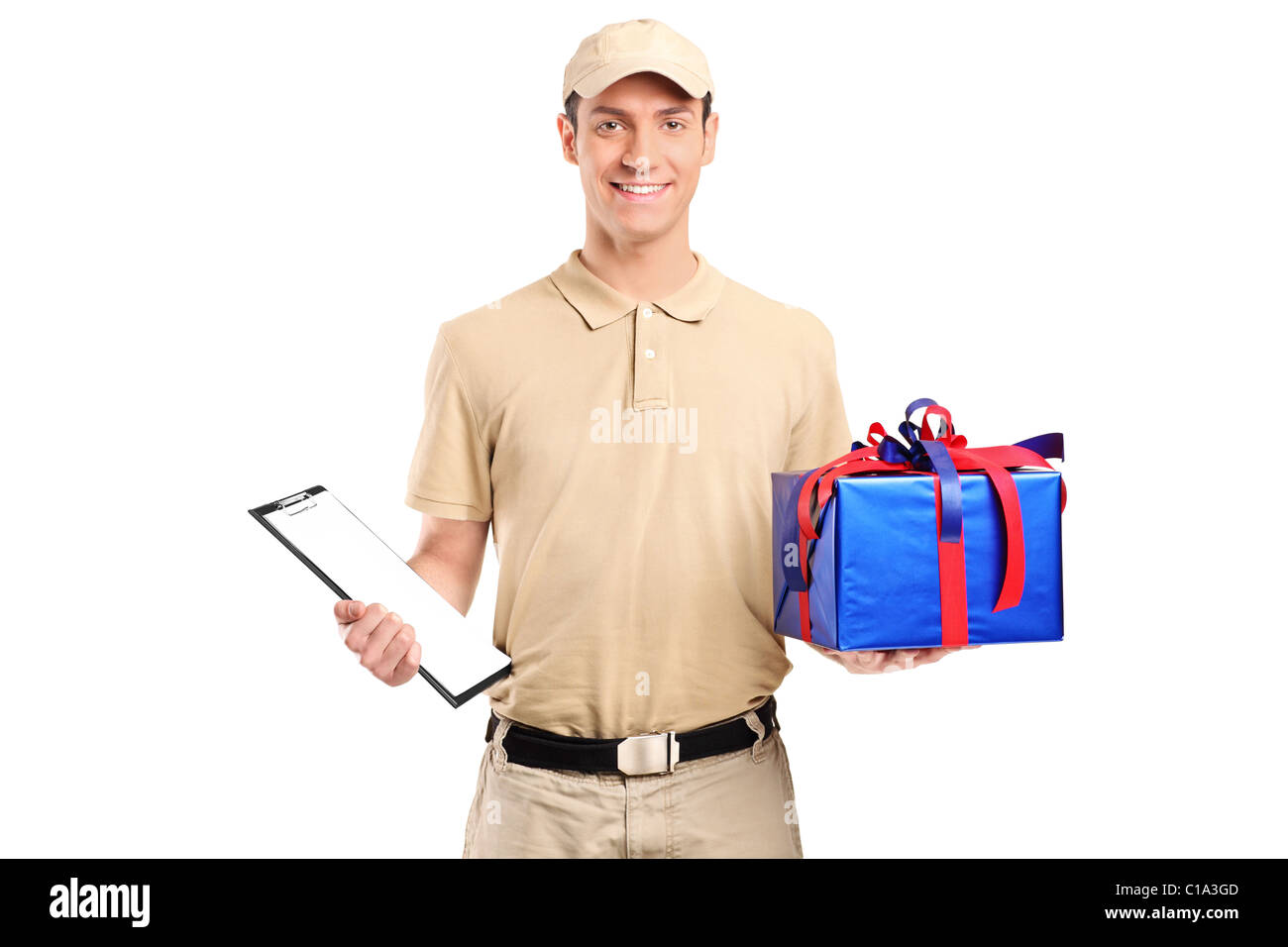 A delivery person delivering a big gift box - Stock Image