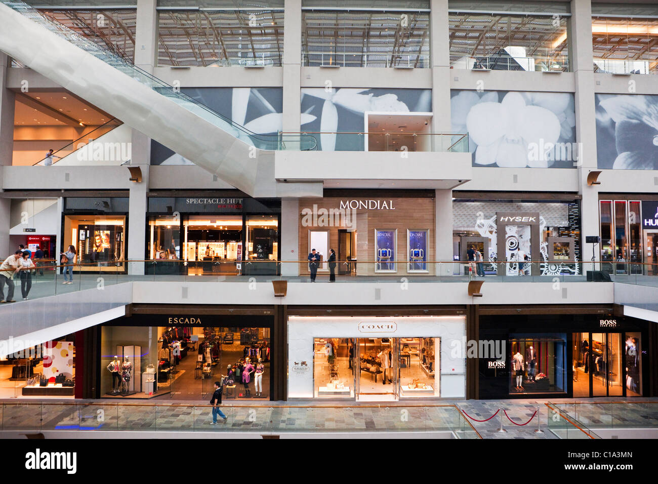 The Shoppes at Marina Bay Sands - a shopping mall in the  Marina Bay Sands hotel & casino complex, Singapore - Stock Image