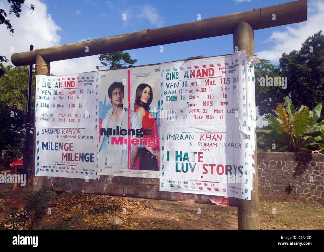 "Cinema advertising poster, ""Bollywood"" films, Mauritius Stock Photo"