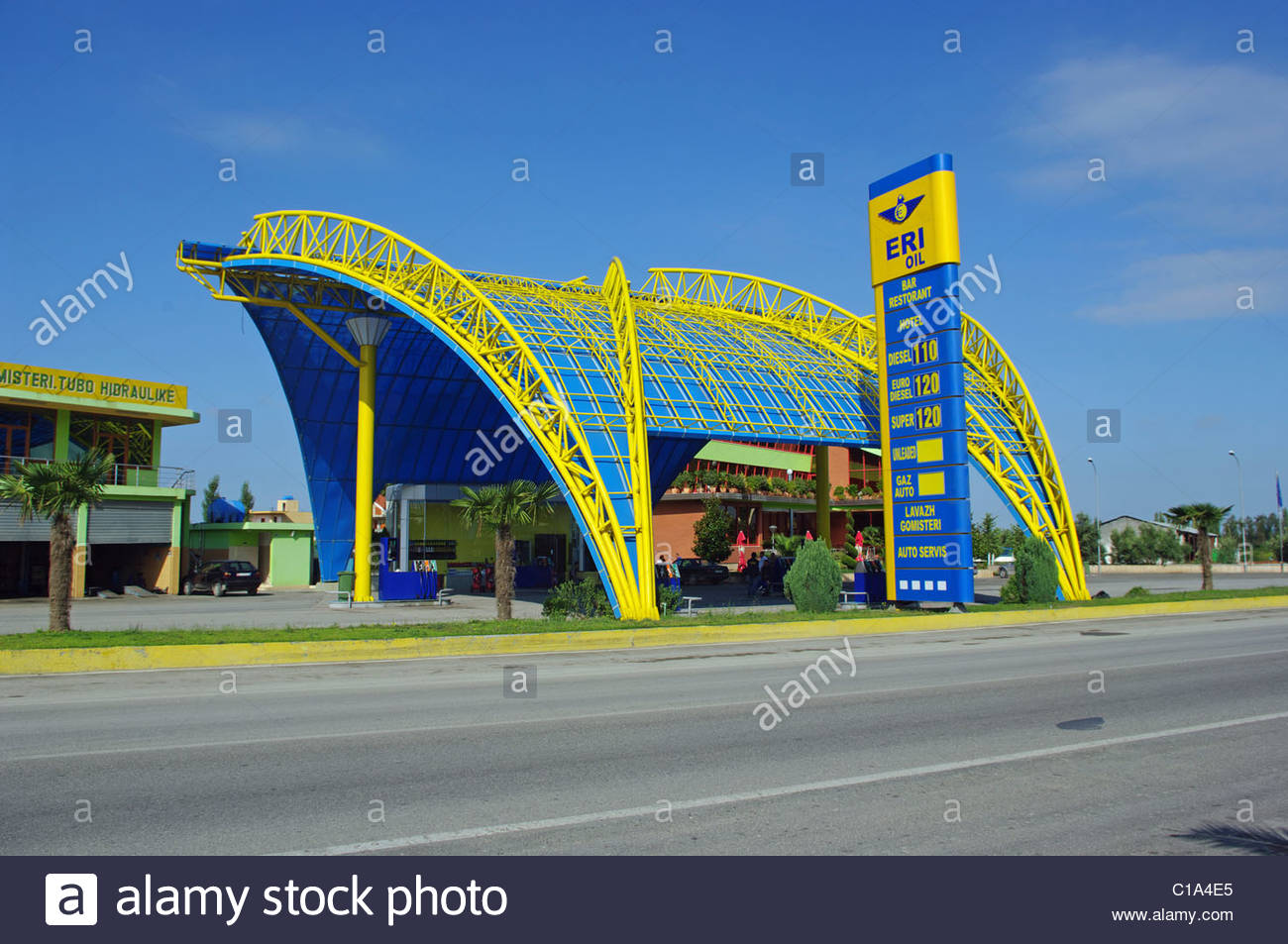 Petrol Station from Durres E762 Road Albania - Stock Image