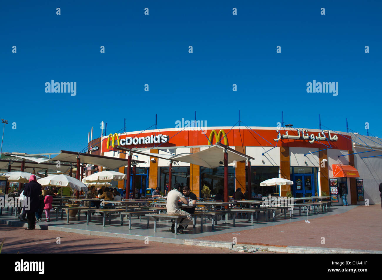 McDonalds fast food restaurant by the beach Agadir the Souss southern Morocco Africa - Stock Image