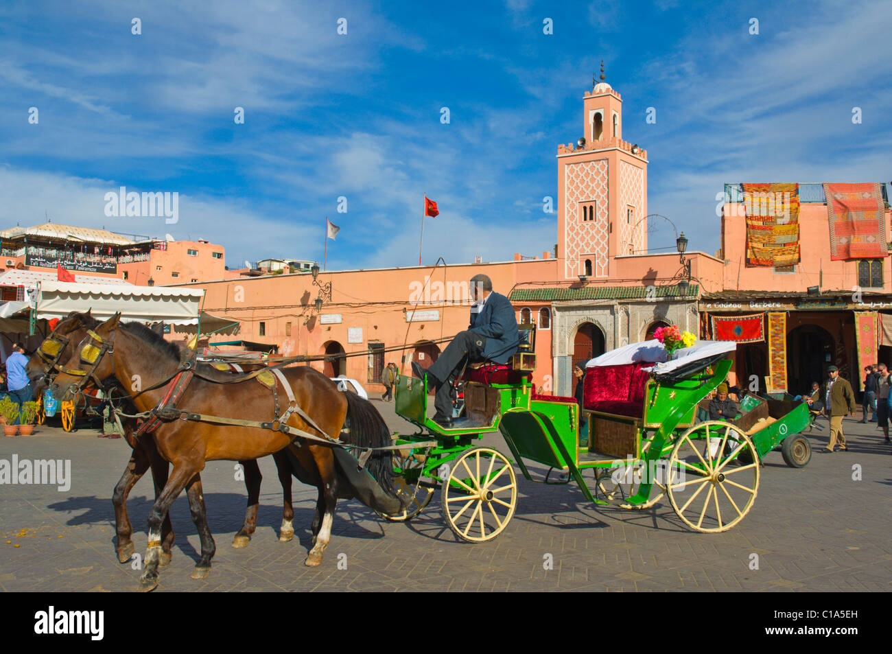 Horse-drawn carriage Djemaa el-Fna square Medina old town Marrakesh central Morocco Africa - Stock Image