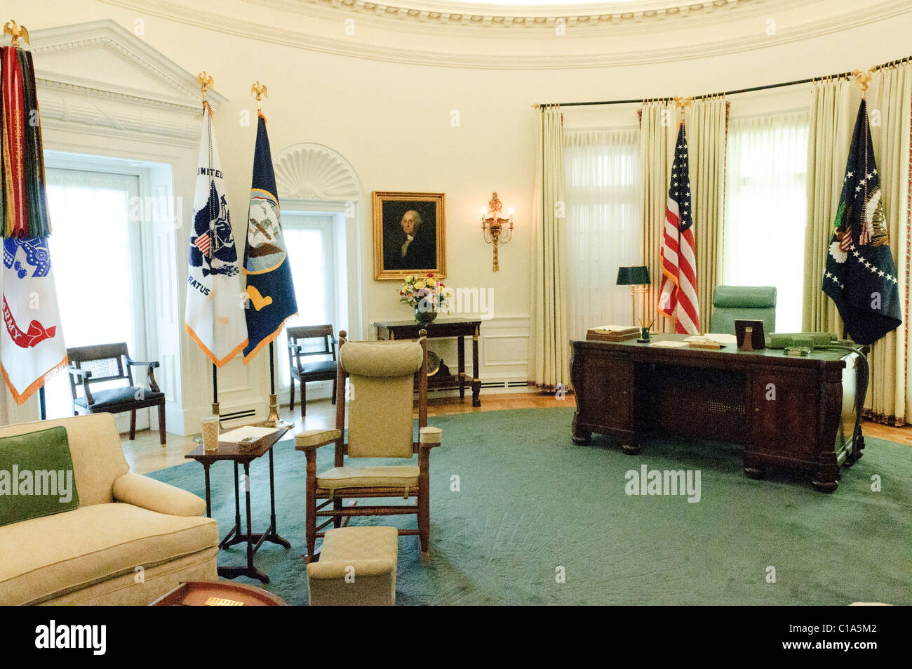 Replica of President Lyndon B. Johnson's Oval Office, display as part of the LBJ Museum in Austin, Texas. Stock Photo