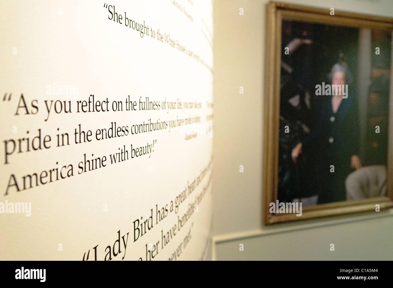 AUSTIN, Texas - Part of the Lady Bird Johnson exhibit at the LBJ Library in Austin Texas Stock Photo