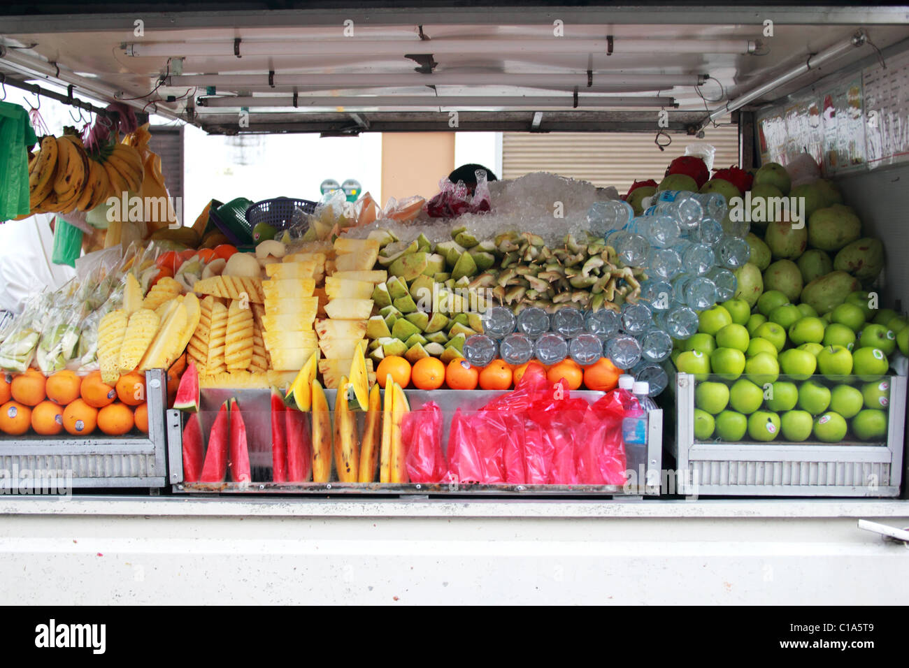 fruit sreet market - cold fruits in hot asia Stock Photo