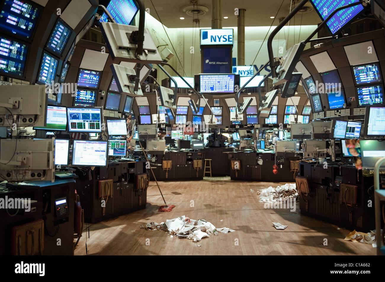 the empty trading floor of the nyse after the market has closed