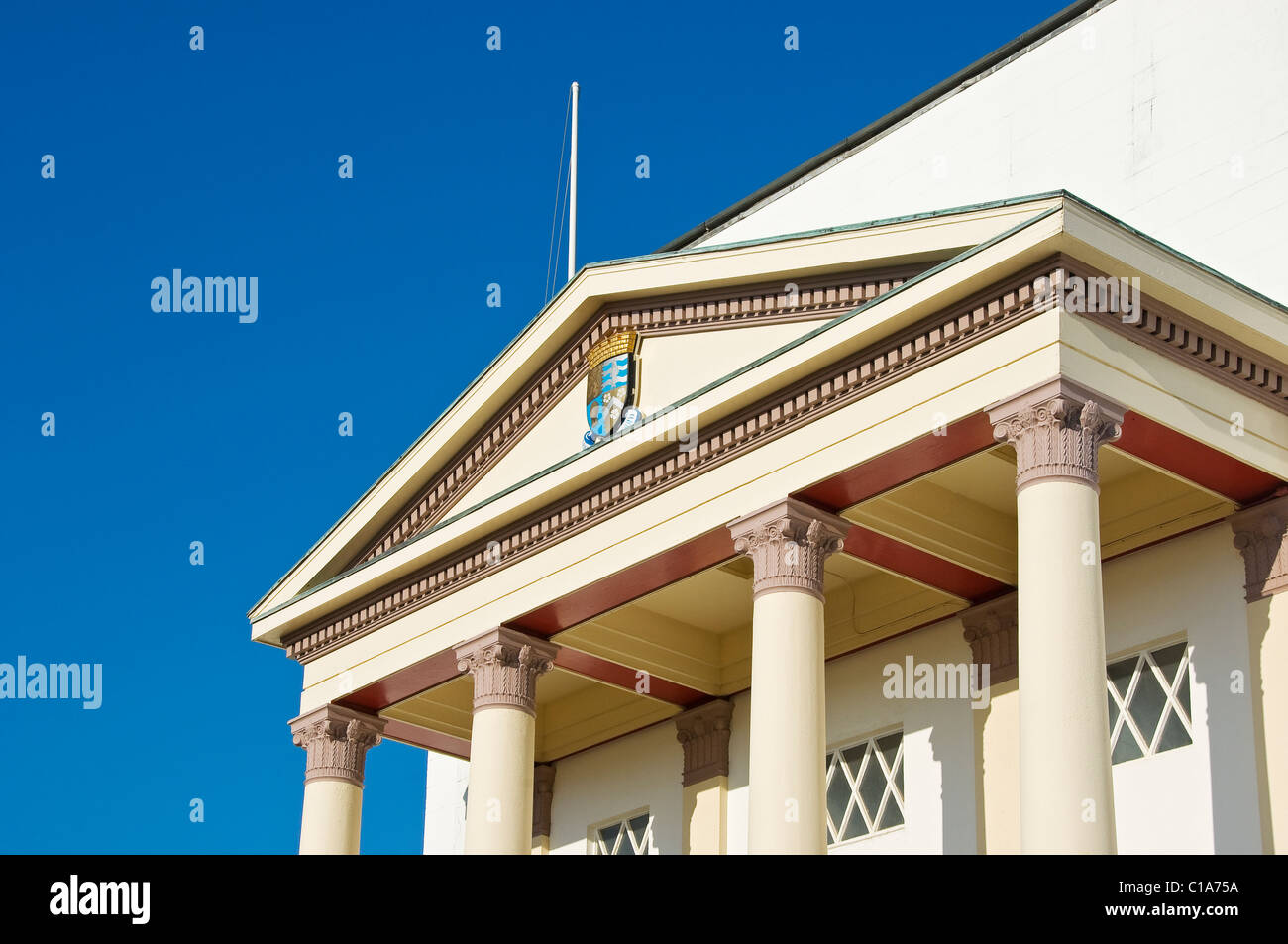 Portico detail on Aberystwyth Town Hall Cardiganshire mid Wales UK United Kingdom GB Great Britain - Stock Image