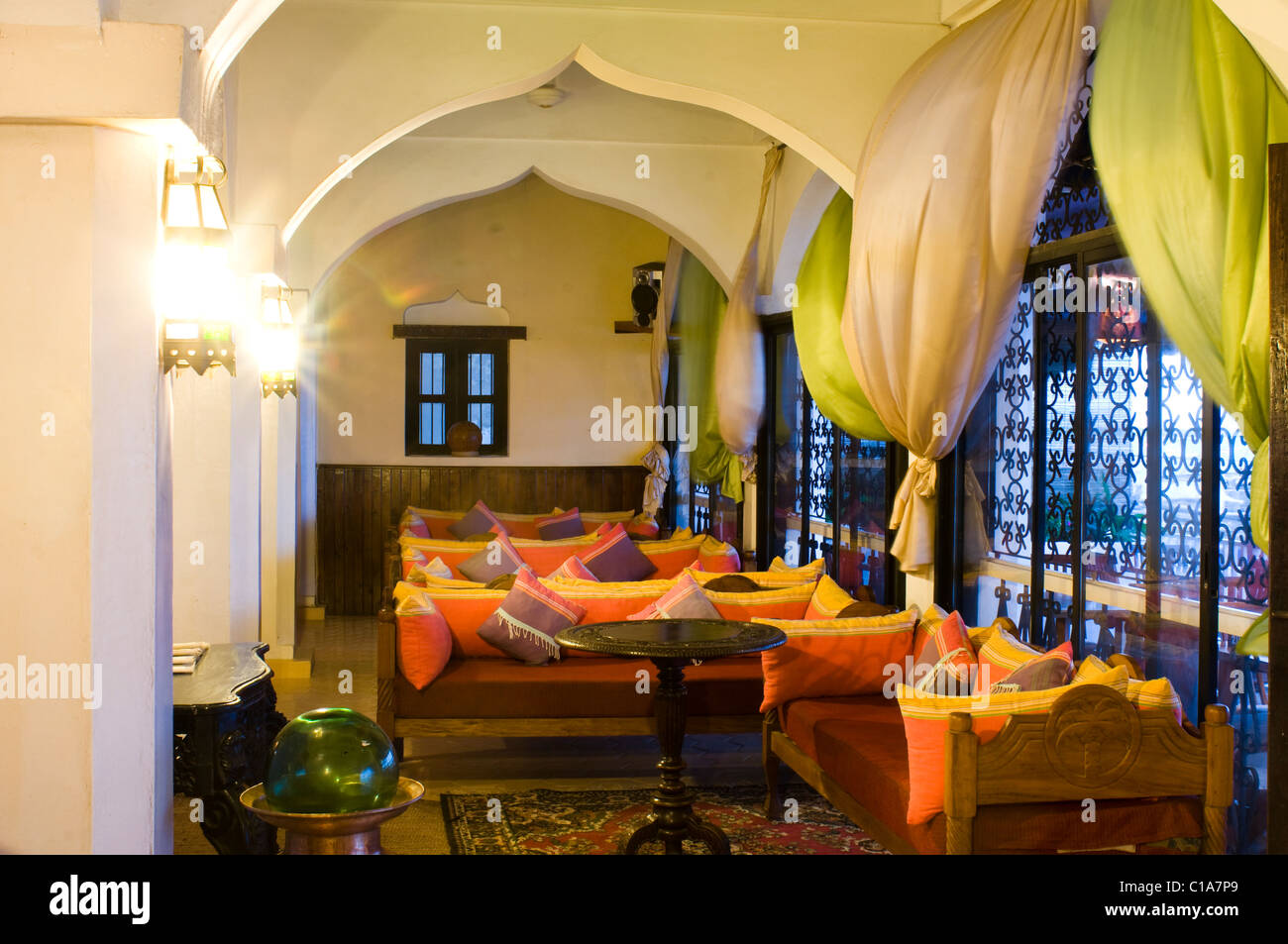 Lamu Palace Hotel, Old Stone Town, Lamu, Kenya Stock Photo
