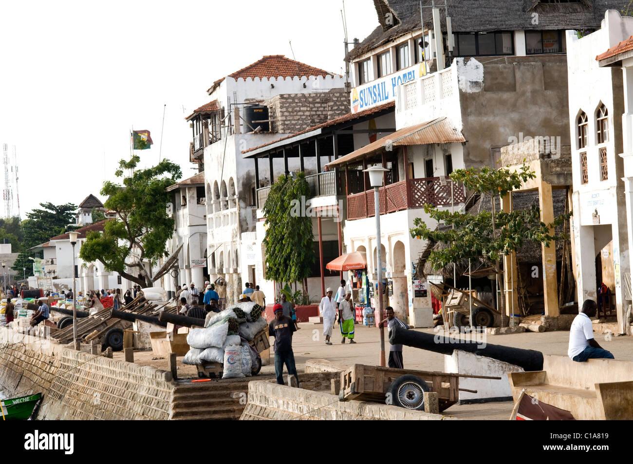 Foreshore scene, Old Stone Town, Lamu, Kenya Stock Photo
