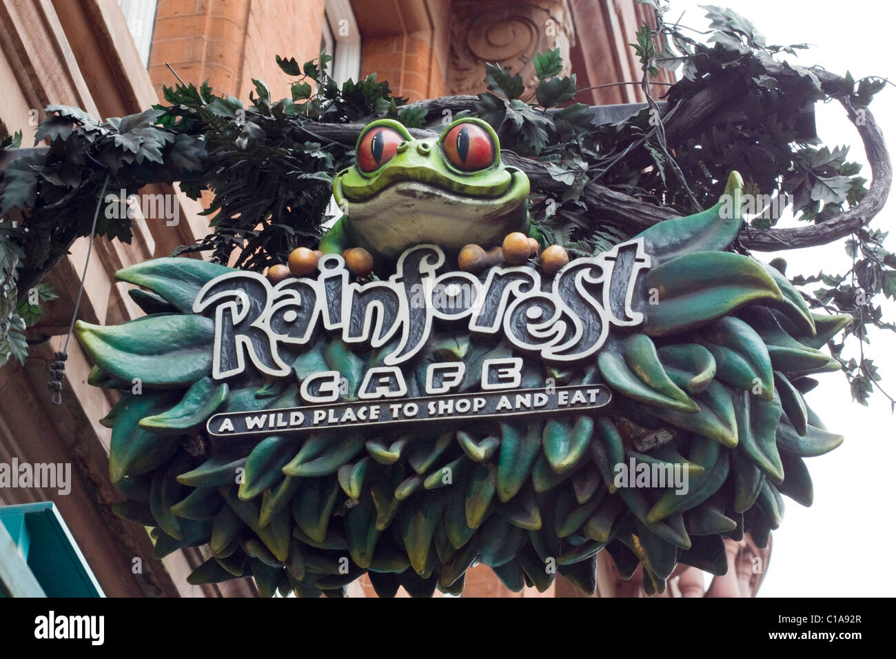A sign Advertising the Rainforest's Café on Leicester Square London  England Stock Photo