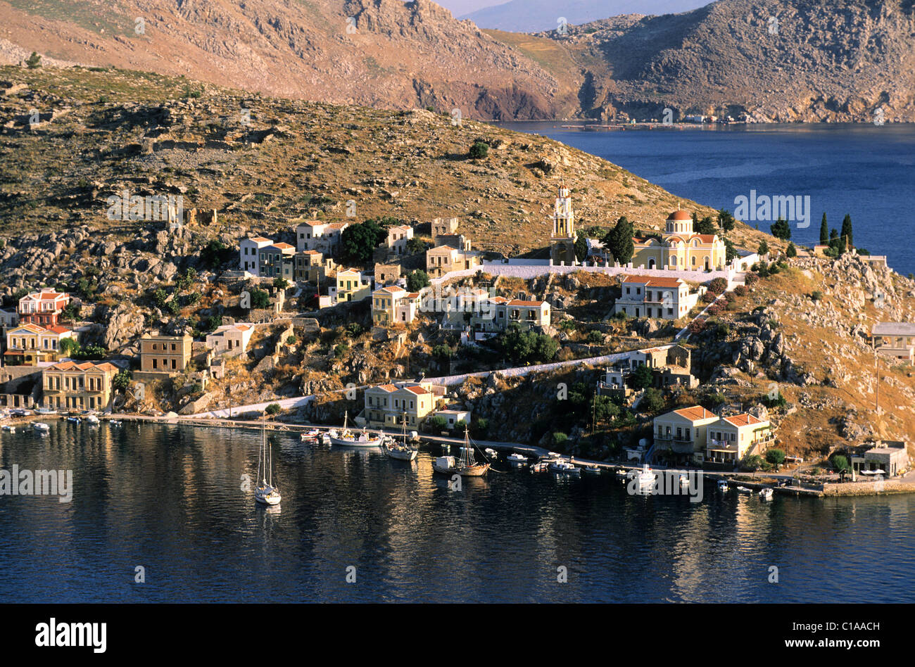 Greece, the Dodecanese, Symi Island, Nos in the surroundings of the port of Gialos - Stock Image