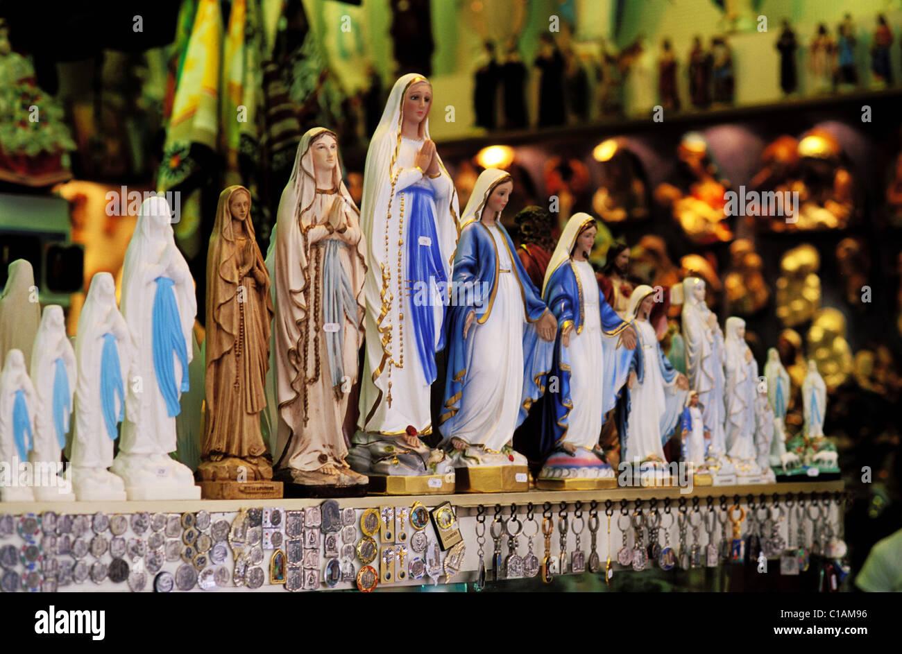 France, Hautes Pyrenees, Lourdes, the souvenir merchants - Stock Image