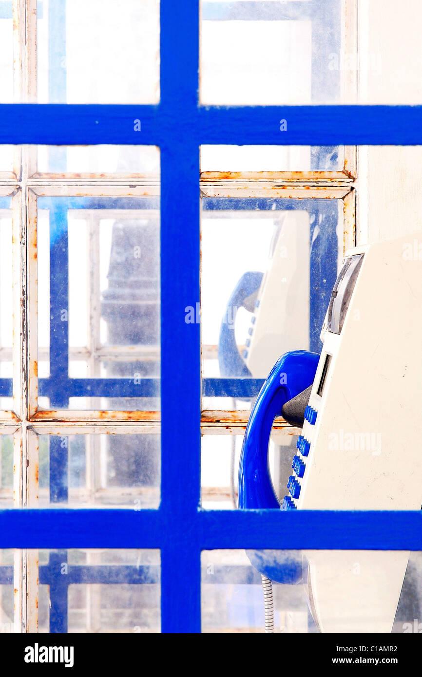 Blue public telephone, Portugal , Europe - Stock Image
