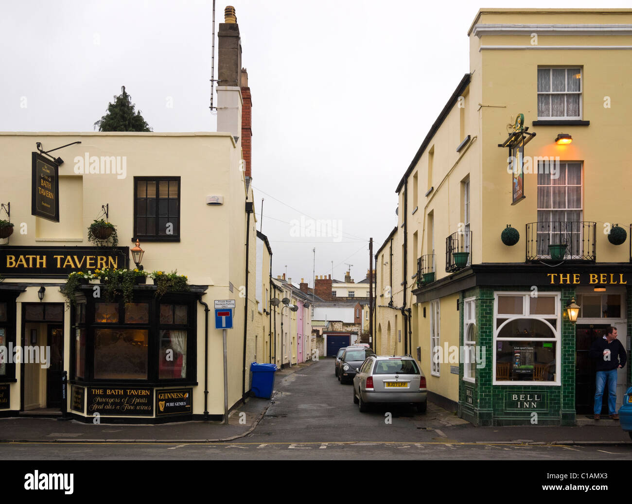 Two pubs, the Bath Tavern and the Bell Inn, Cheltenham, Gloucestershire, UK - Stock Image