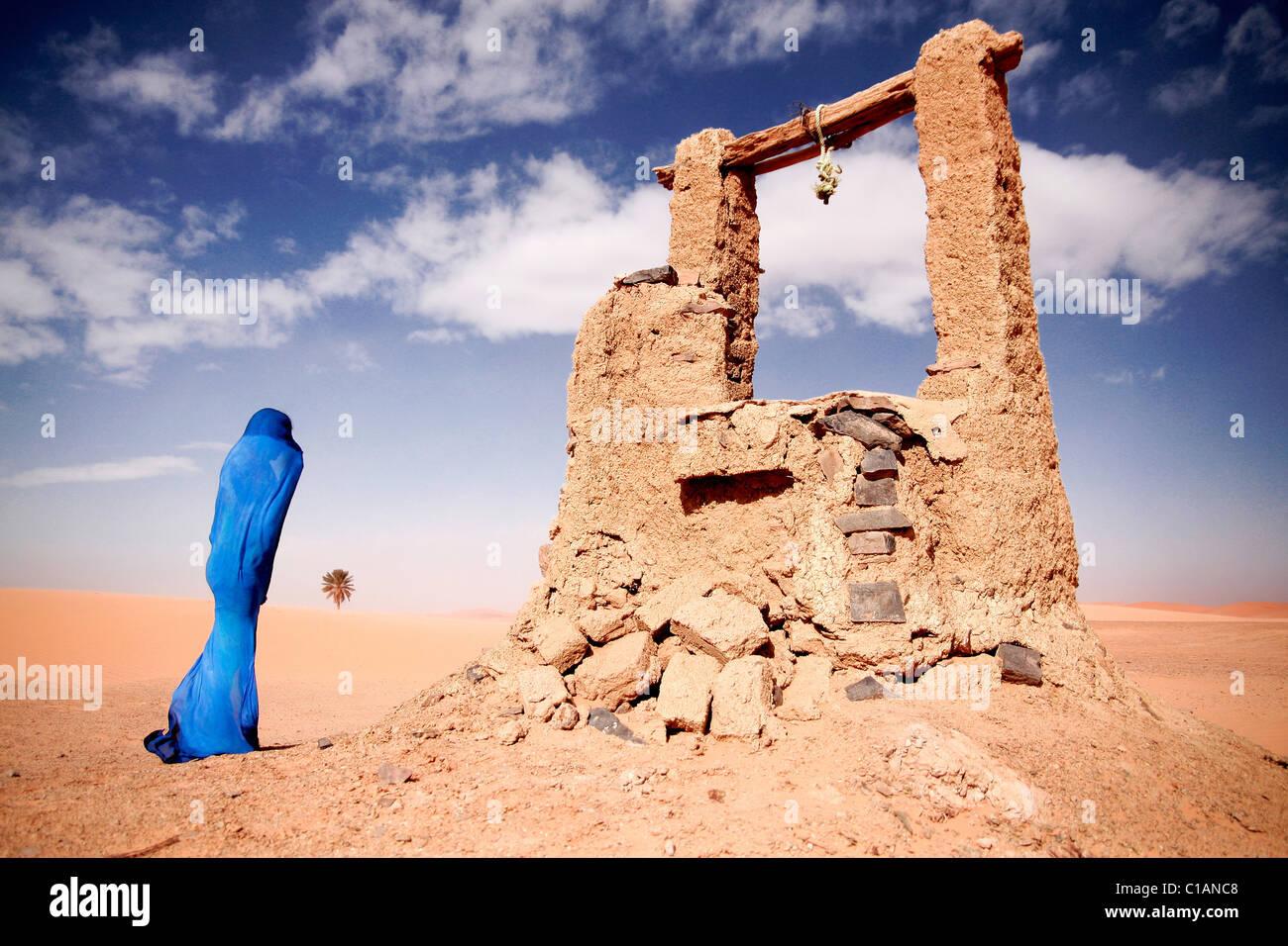Water well, Sahara Desert, Morocco, North Africa - Stock Image