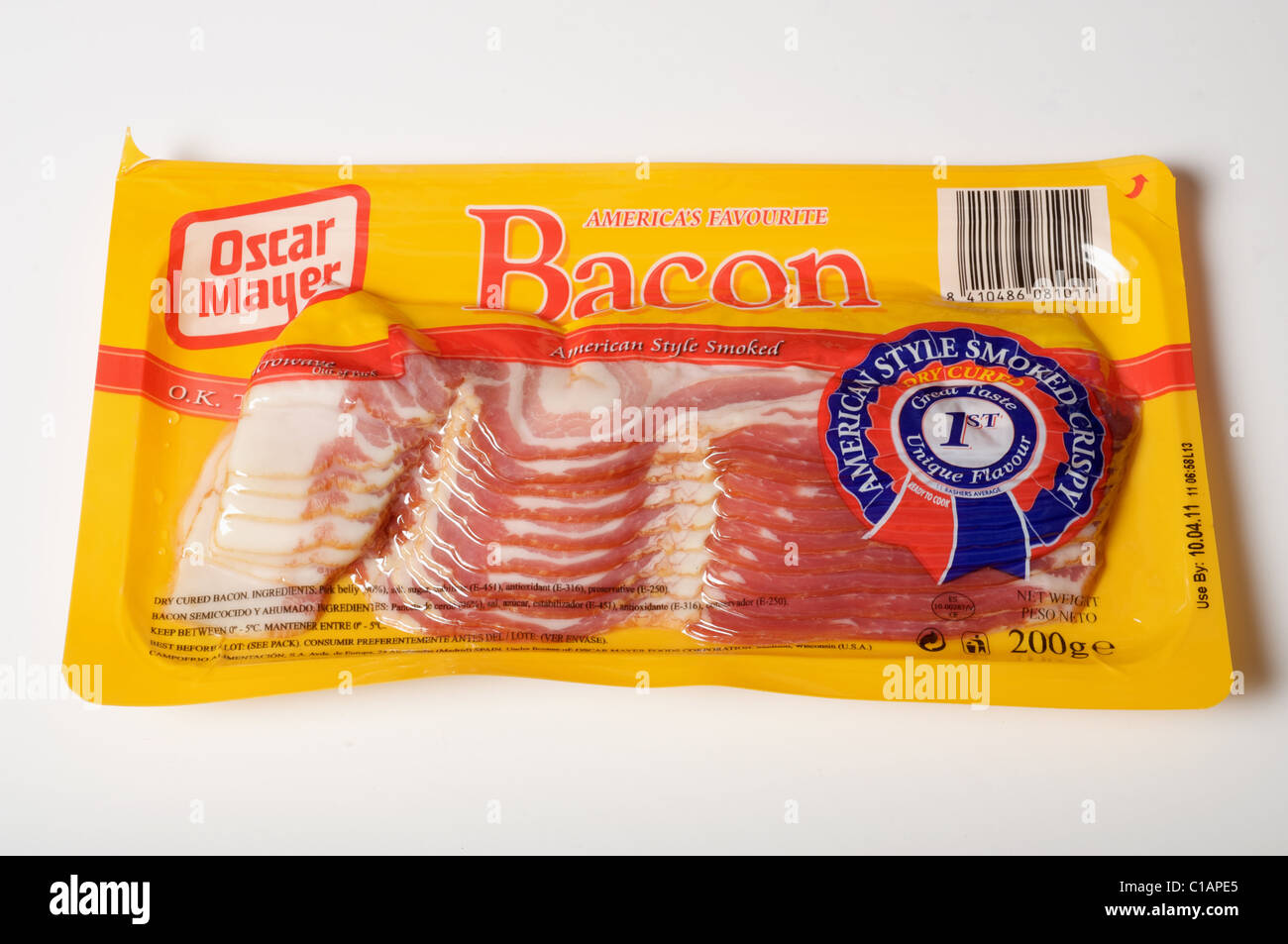 Pack of Oscar Mayer American smoked bacon - Stock Image