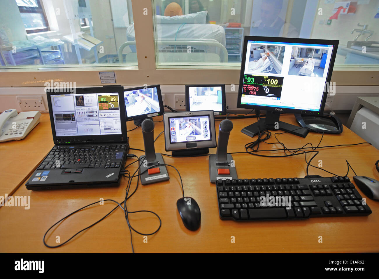 The control room of the new Simulation Suite at Worthing hospital - Stock Image