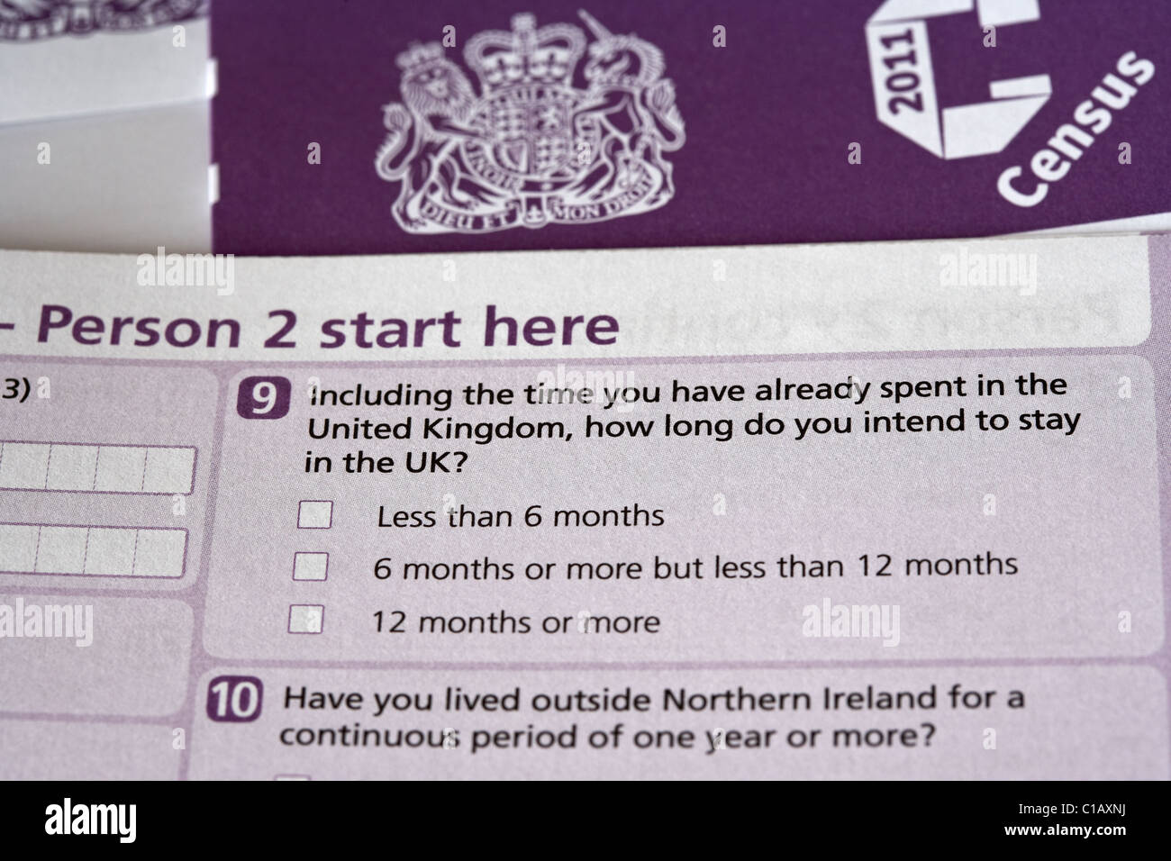 length of time in the UK question uk 2011 census forms as issued in Northern Ireland - Stock Image