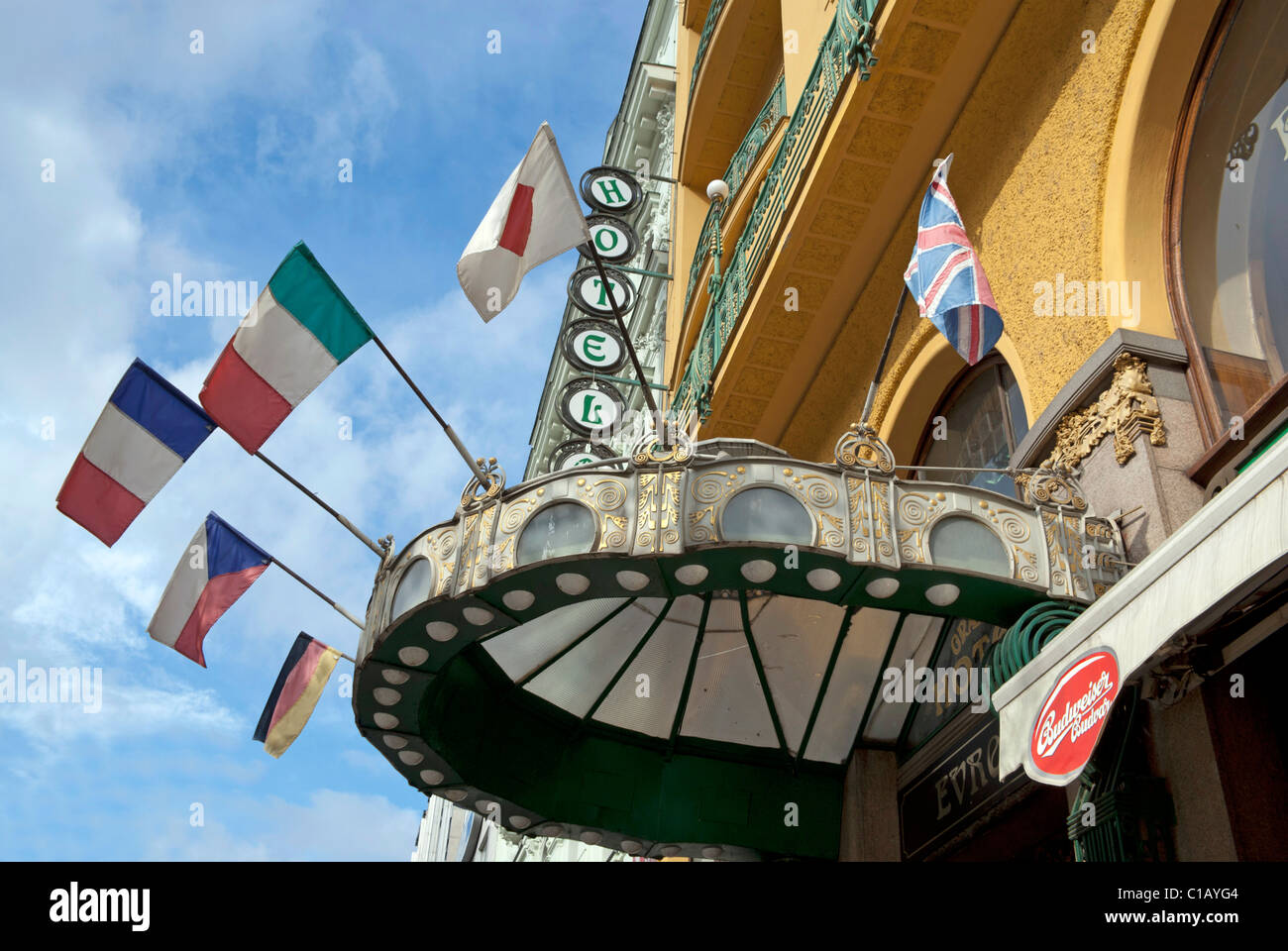 The front of the Grand Europa Hotel in Wenceslas Square, Prague - Stock Image