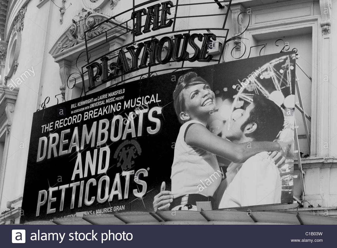 Theater Billboard Advertising Dream boats and Petticoats Black and White - Stock Image