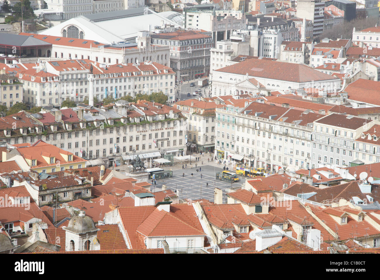 LISBON CITY CENTRE VIEWED FROM ST GEORGES CASTLE - Stock Image