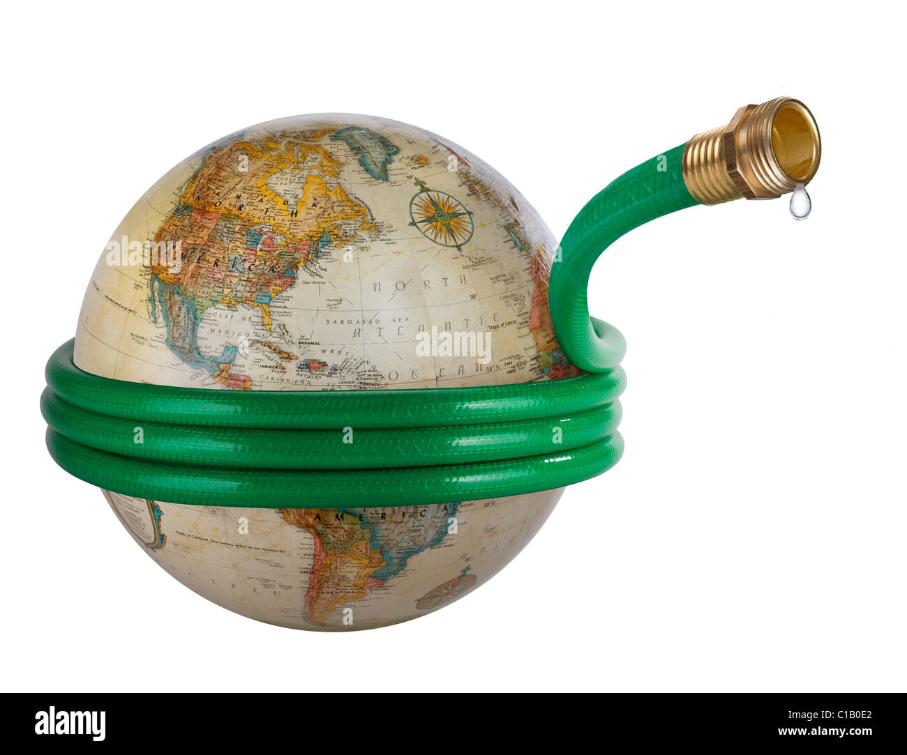 A hose wrapped around a globe in a Global Water Issues concept image. - Stock Image