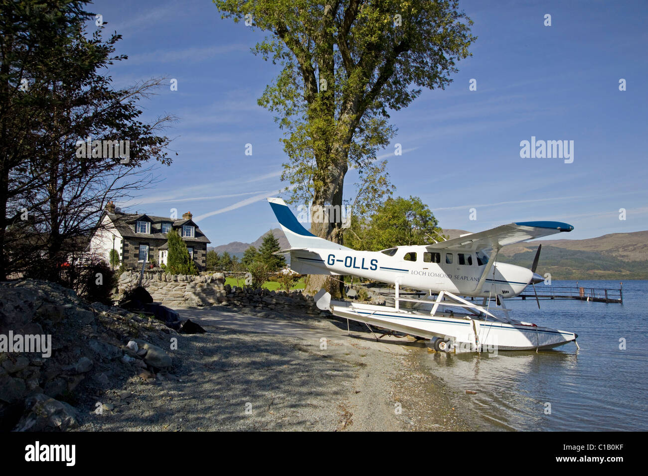 Cessna Sealplane parked, moored, or beached on Loch Lomond - Stock Image