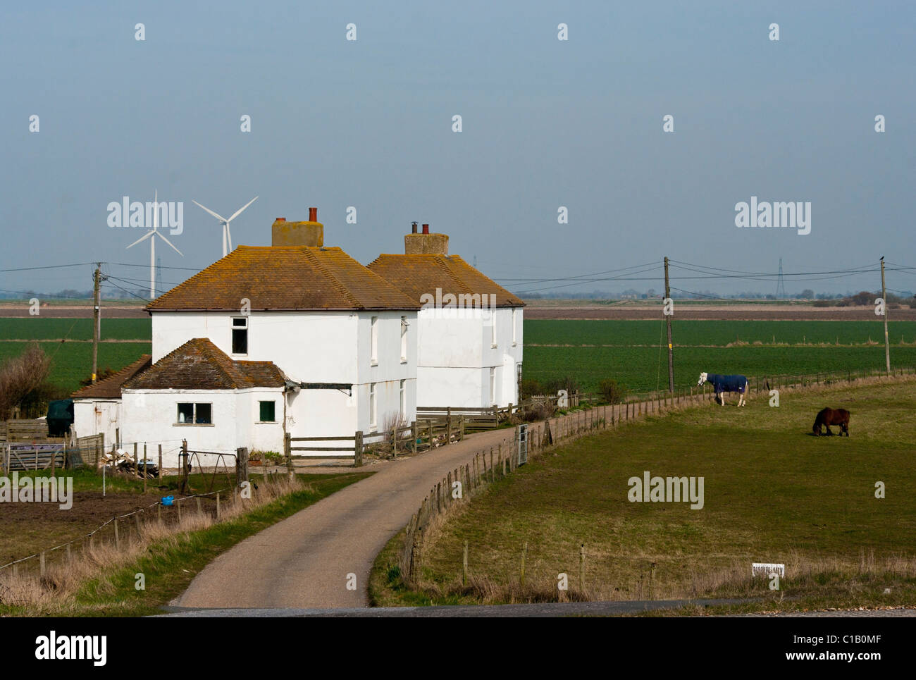 Farmhouses In The Sussex Countryside Broomhill East Sussex - Stock Image