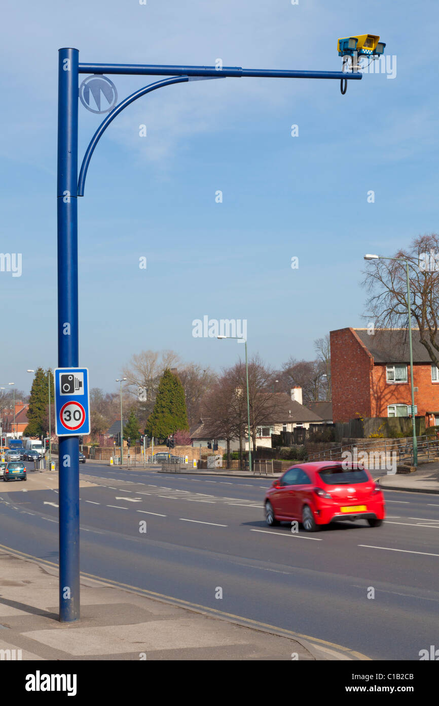 Average speed camera on the Nottingham Ring Road with 30mph signs Nottinghamshire England GB UK EU Europe - Stock Image