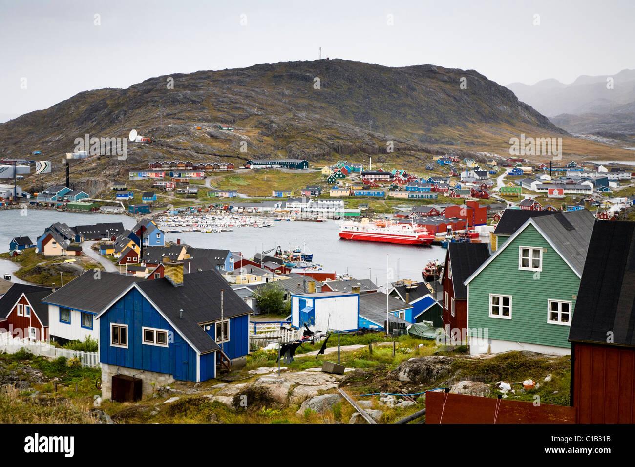 'M/S SARFAQ ITTUK' passenger vessel from 'Arctic Umiaq Line' at the harbor in Qaqortoq (Julianehåb), - Stock Image