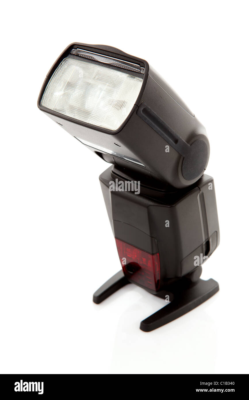 external remote flash over white background - Stock Image