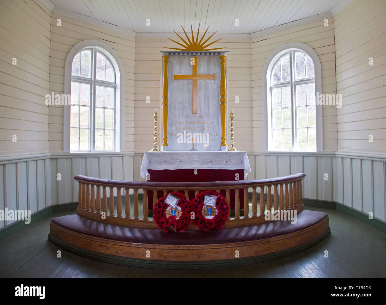 Altar in the Norwegian Church, Grytviken Harbour, South Georgia Stock Photo