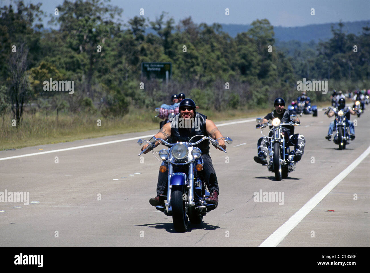 Harley Davidson motorcycle rally on West coast Highway, NSW Stock