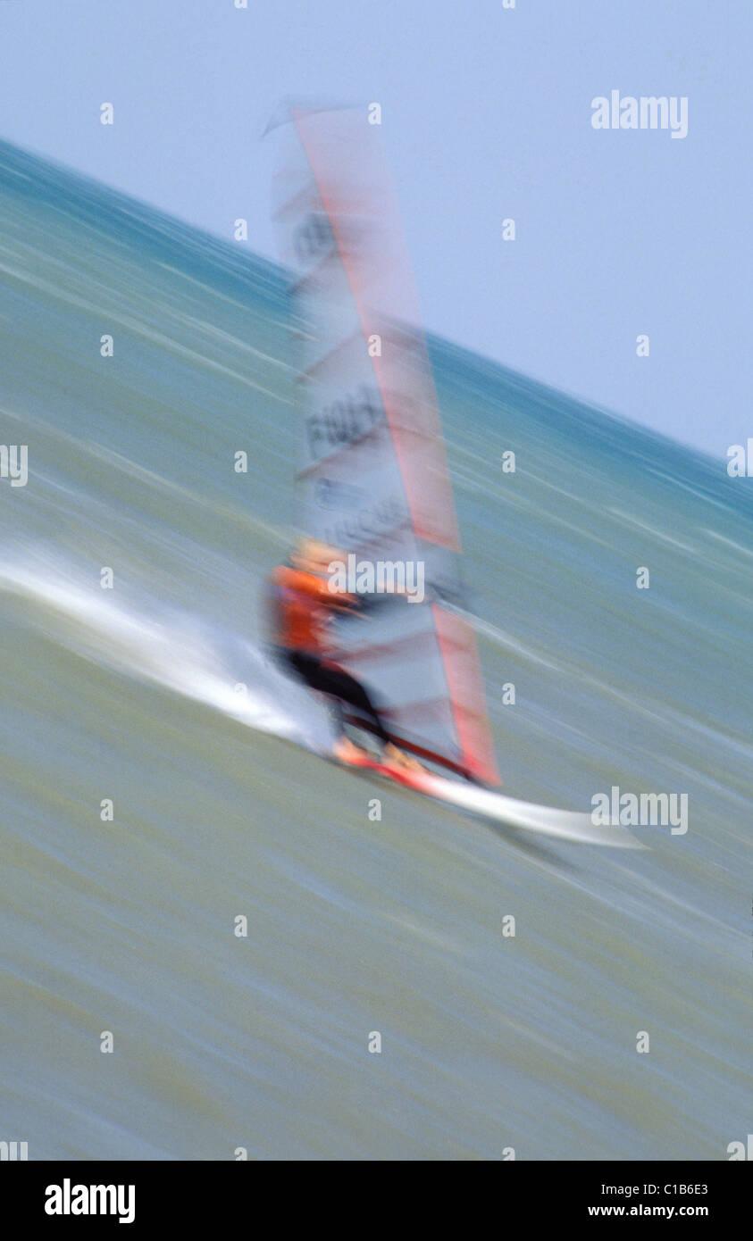 France Aude Port Leucate Windsurf Stock Photo Alamy