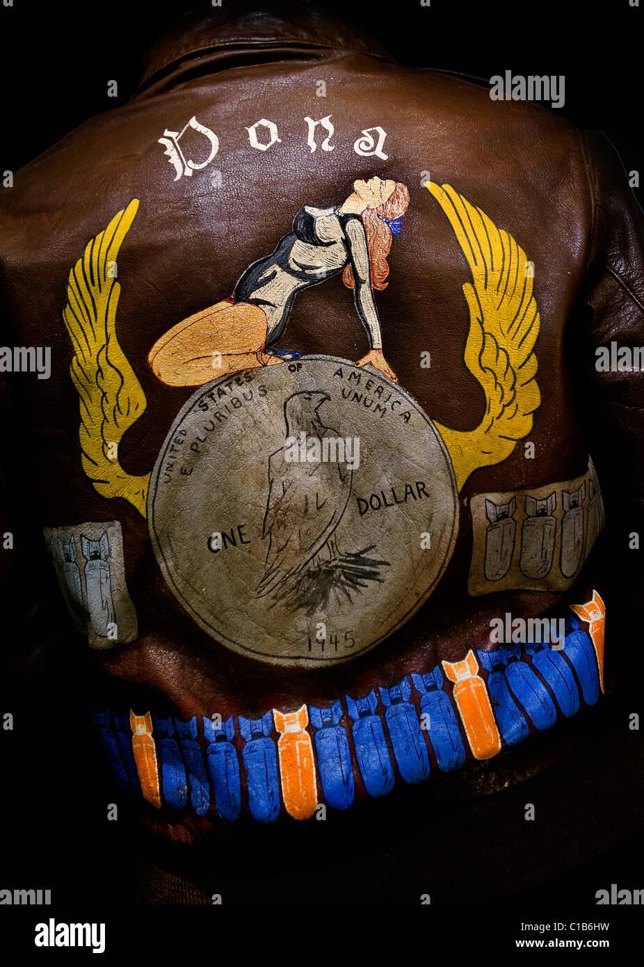 bomber jacket world world two military folk art - Stock Image