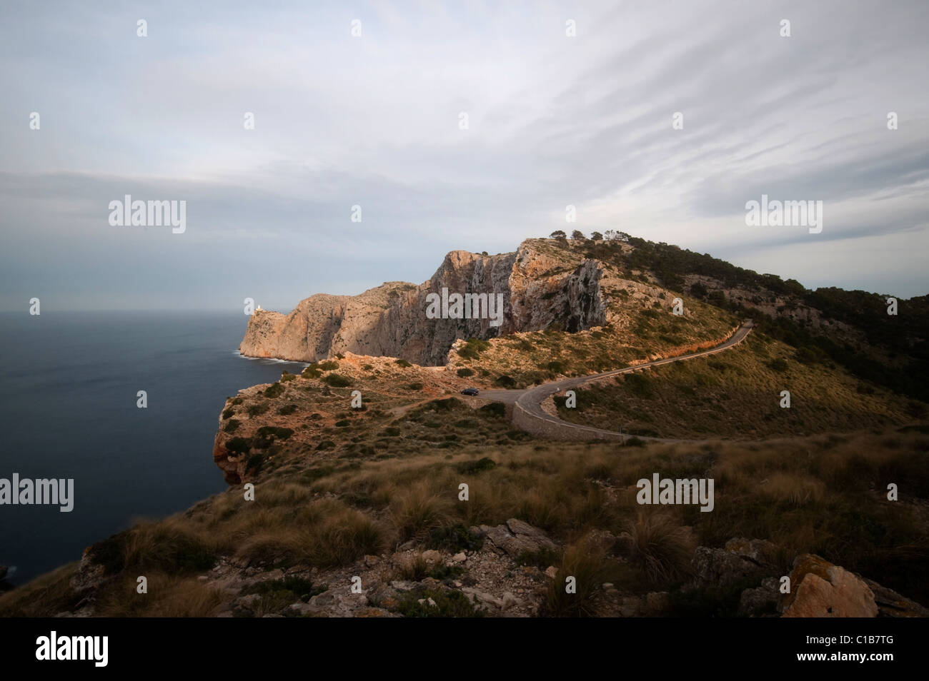 vview from punta tomas to cap de formentor with lighthouse, Mallorca, Spain - Stock Image