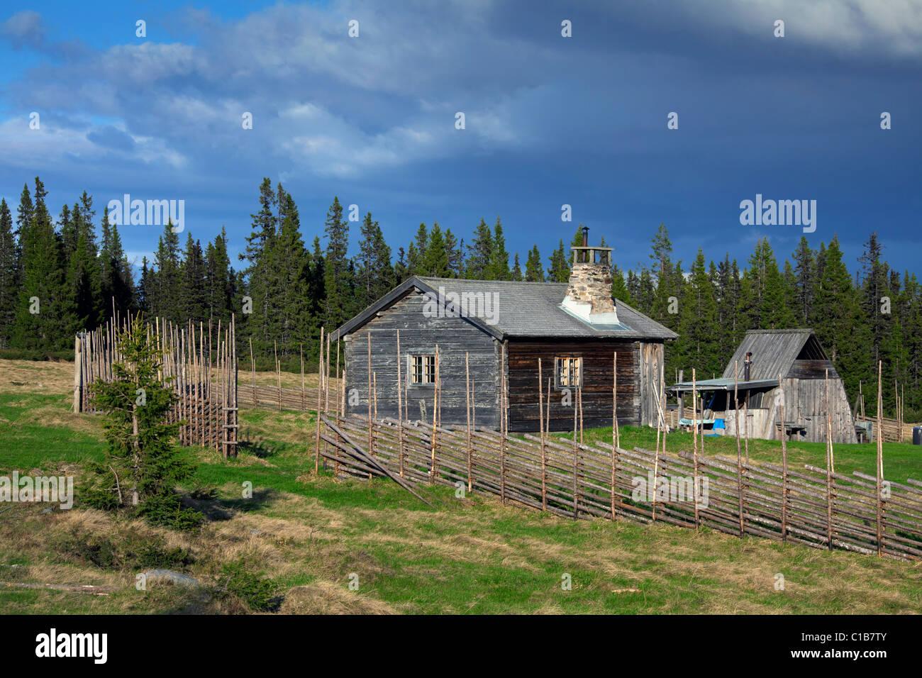 Wooden fence and log cabin of farm at Jaemtland / Jämtland, Sweden - Stock Image