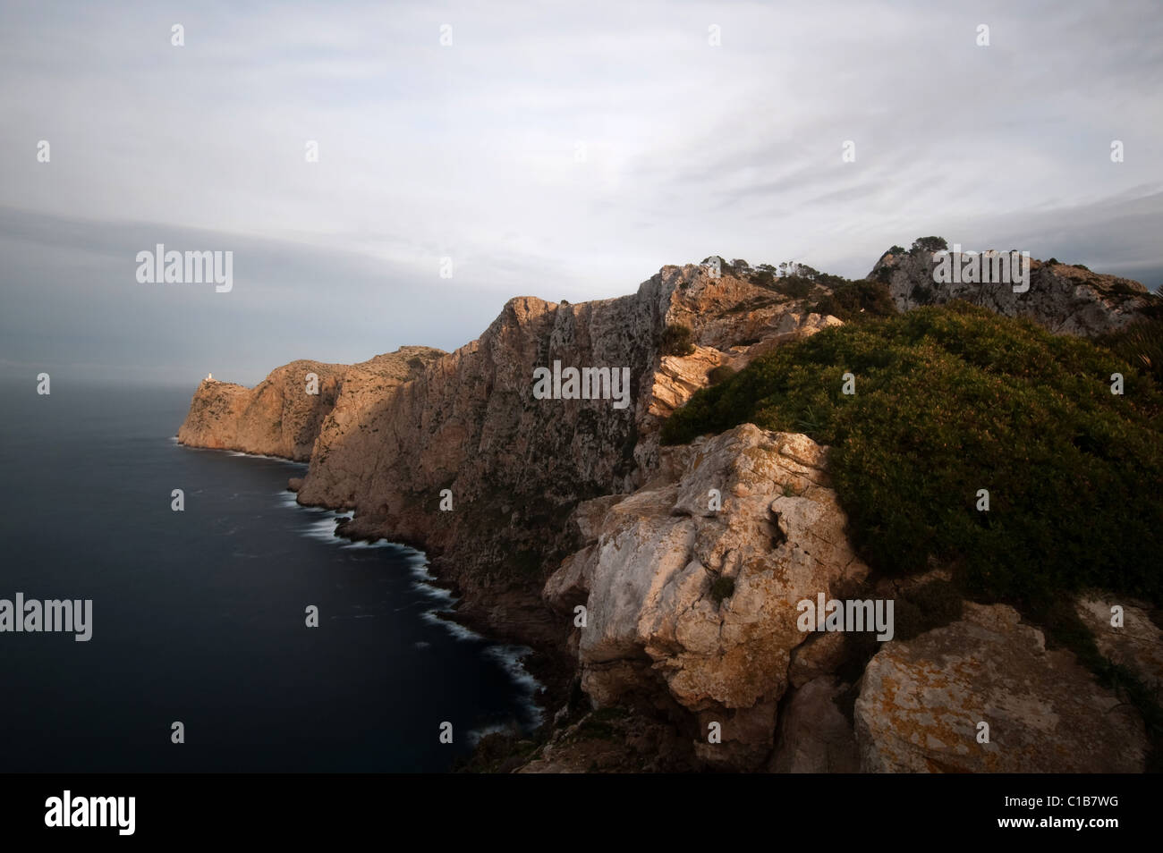 view from punta tomas to cap de formentor with lighthouse, Mallorca, Spain - Stock Image