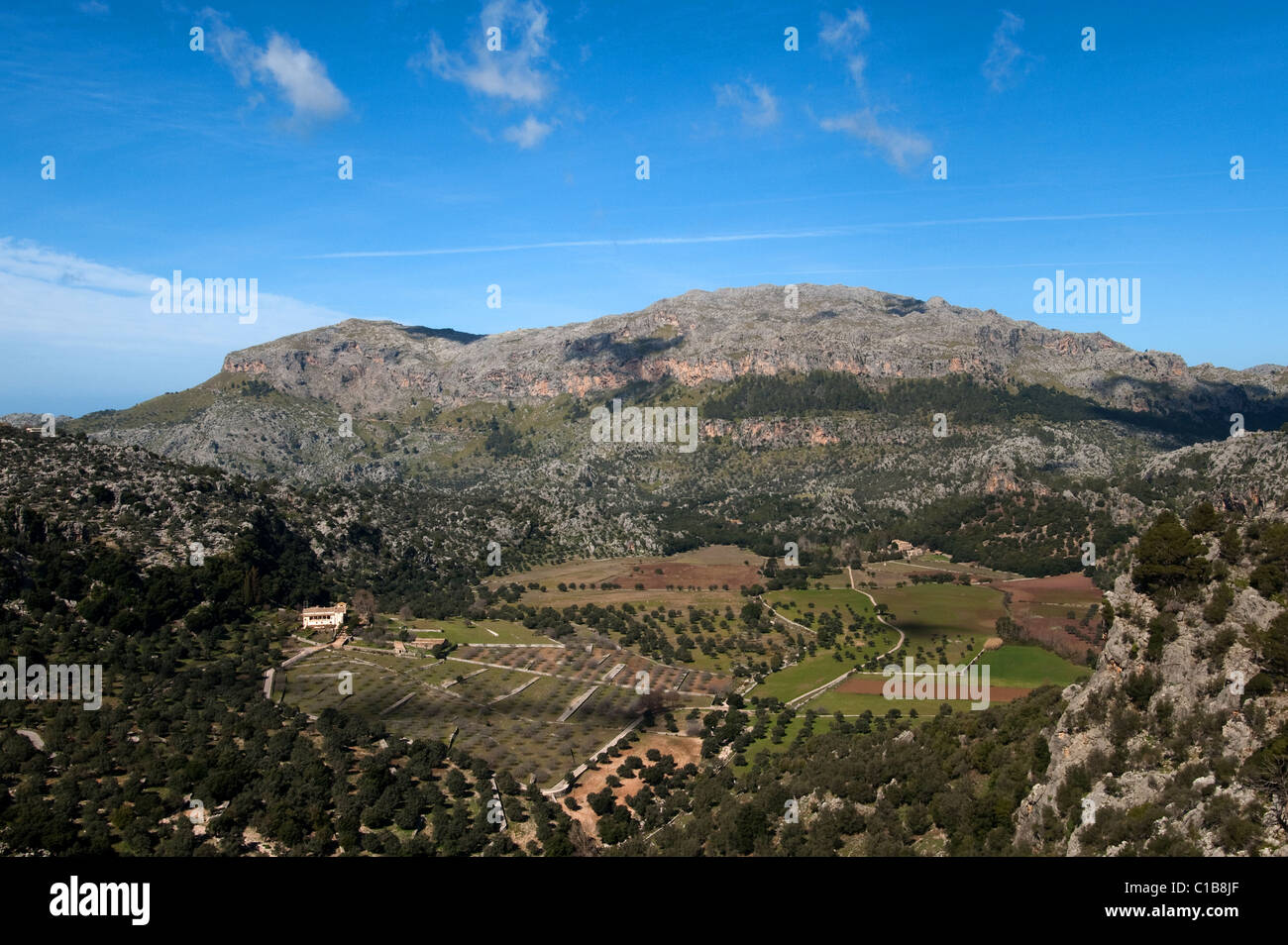 A view over the Serra de Tramuntana mountains from tophill Cloister Lluc, northern Mallorca, Spain 2011 - Stock Image