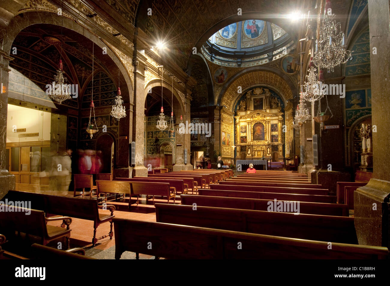 Interior of church at Monastery of Our Lady of Lluc, Mallorca, Spain - Stock Image