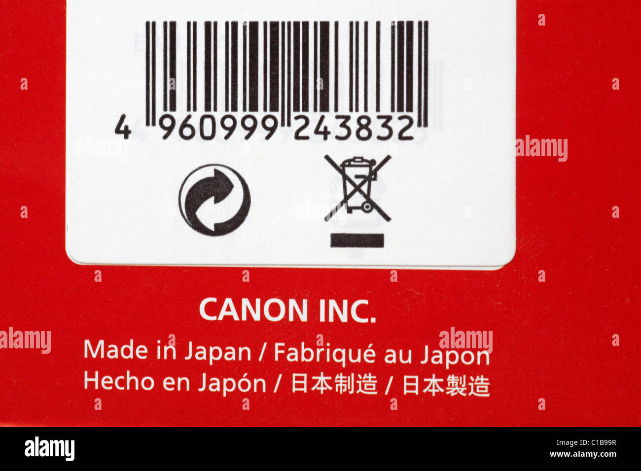 Made in Japan - on box of Canon photographic equipment Speedlite Flash gun - Stock Image